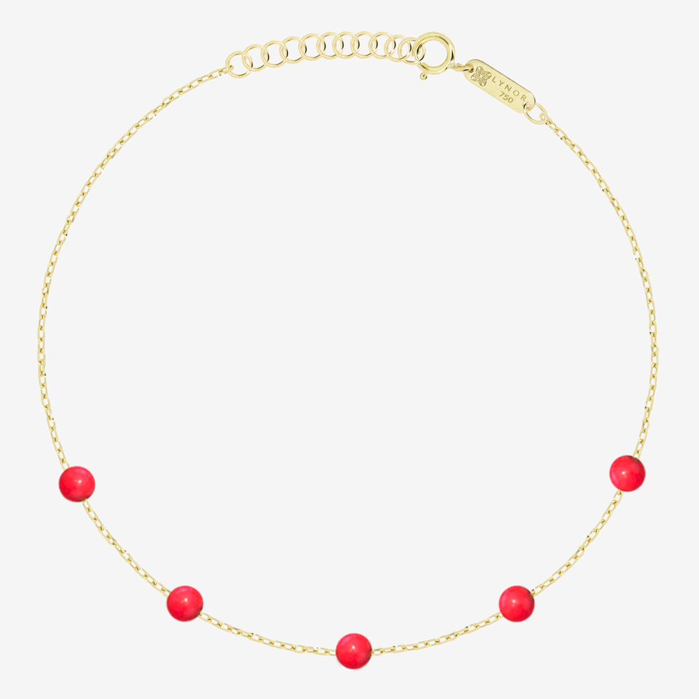 Beaded Bracelet in Red Coral