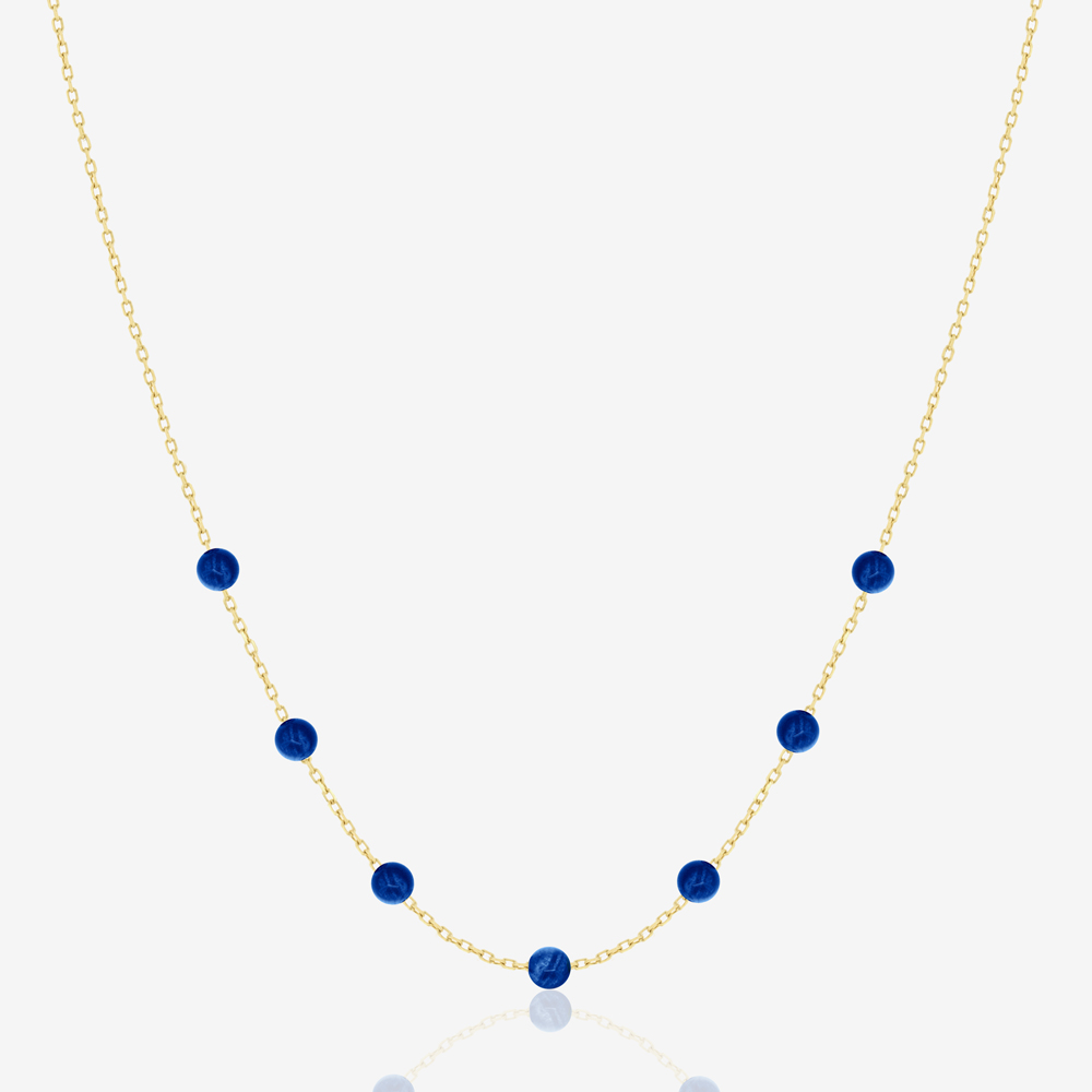Beaded Necklace in Lapis Lazuli