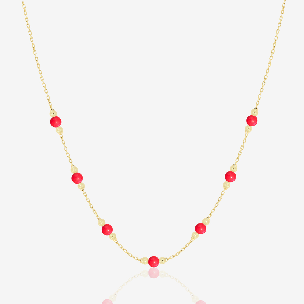 Cherry Necklace in Red Coral
