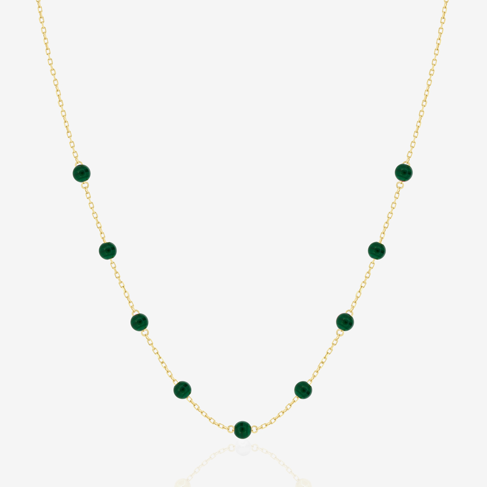 Beaded Necklace in Green Malachite