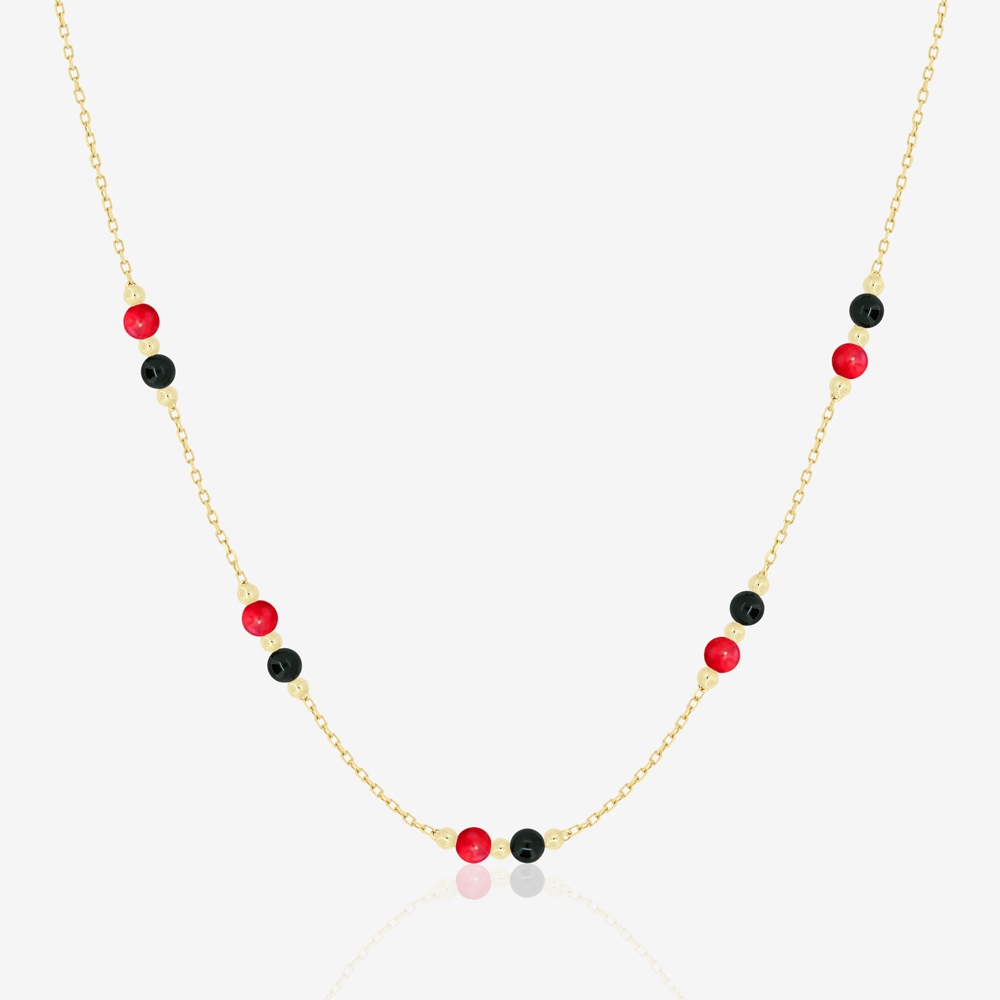 Margo Necklace in Black Onyx and Red Coral