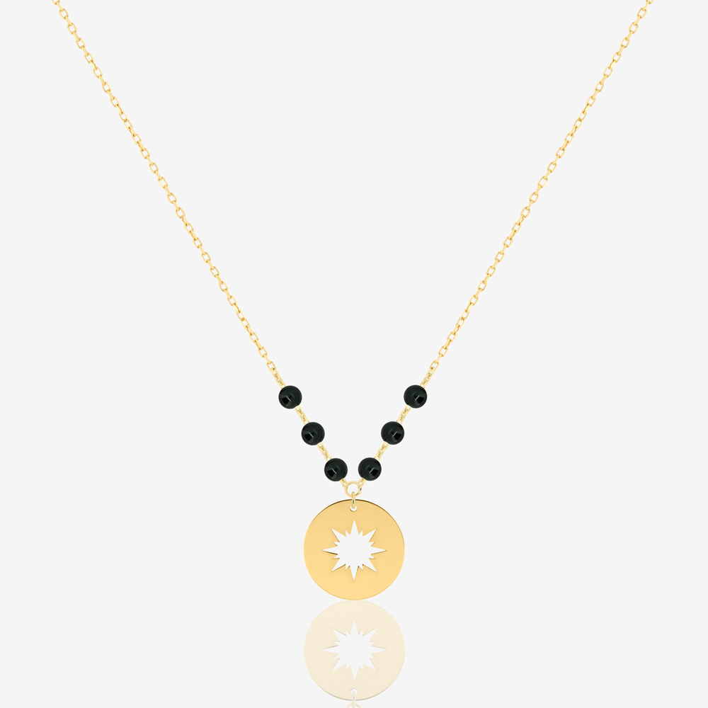 Mini Sunshine Necklace in Black Onyx
