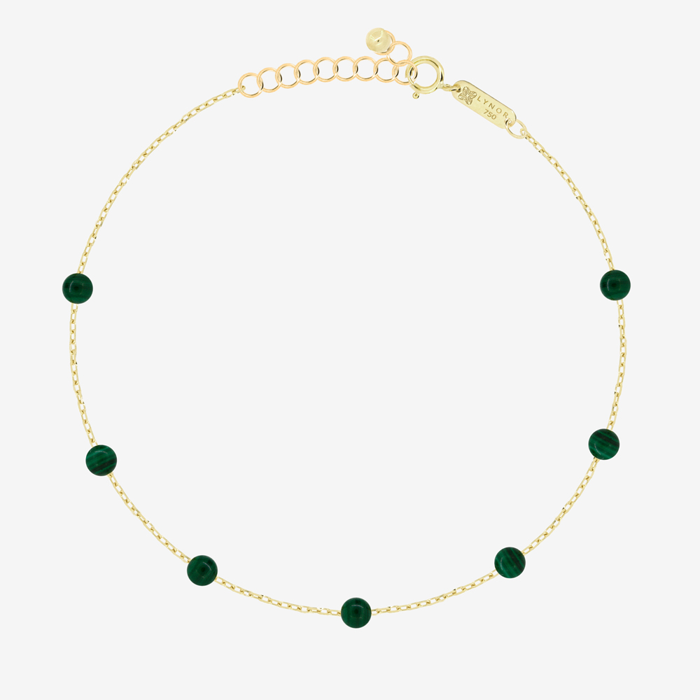 Beaded Bracelet in Green Malachite