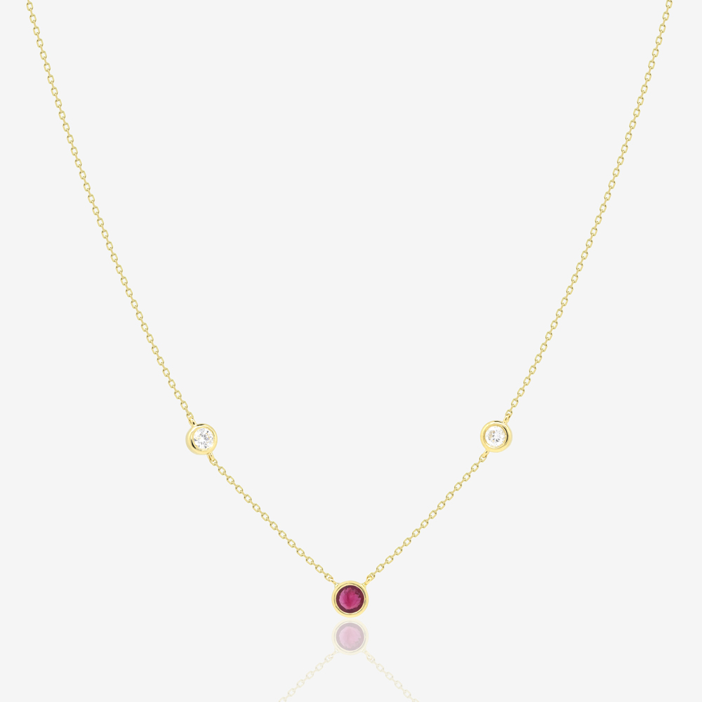 Trio Gem Necklace in Diamond and Ruby
