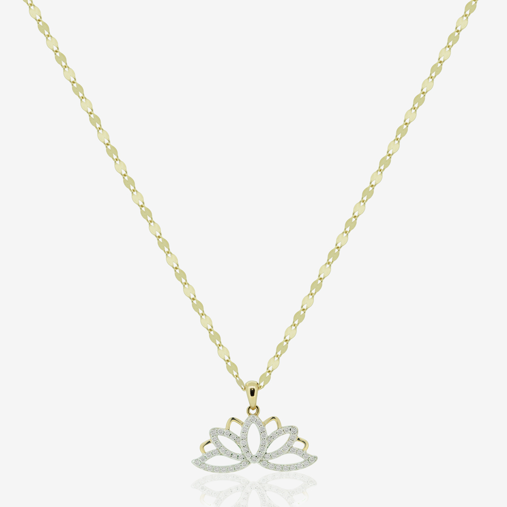 Lotus Necklace in Diamond