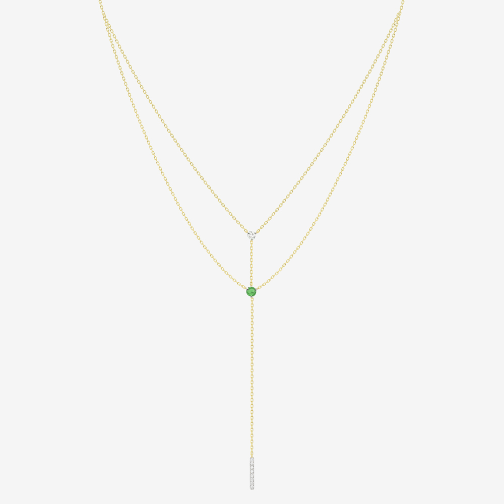 Ania Necklace in Emerald and Diamond