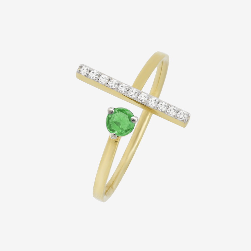 Ania Ring in Emerald and Diamond