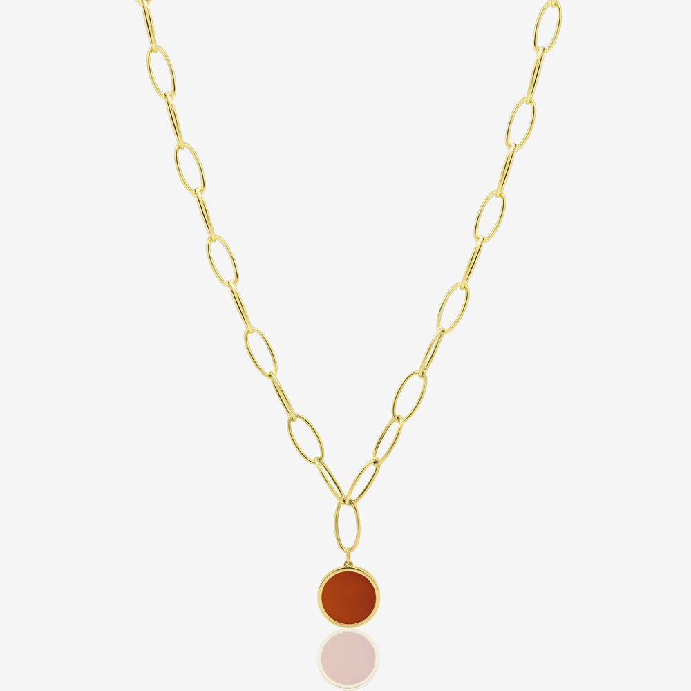Oval Links Necklace in Red Carnelian
