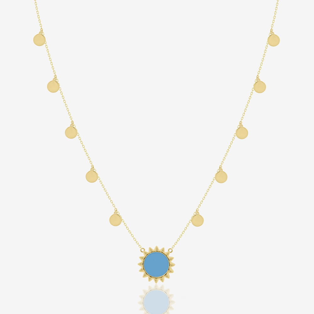 Helios Sun Necklace in Turquoise