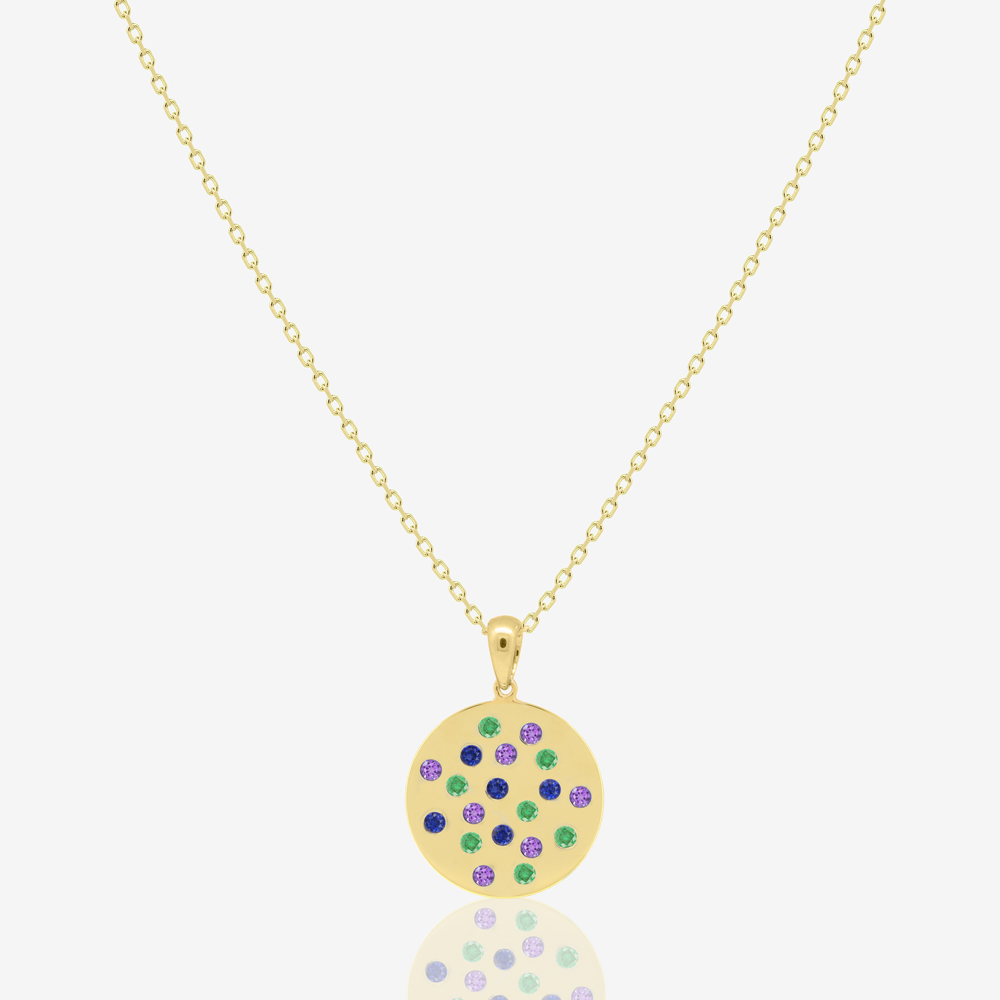 Sira Coin Necklace in Emerald, Amethyst and Sapphire