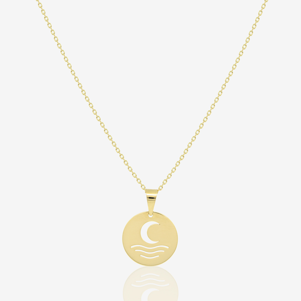 Moon and Sea Coin Necklace