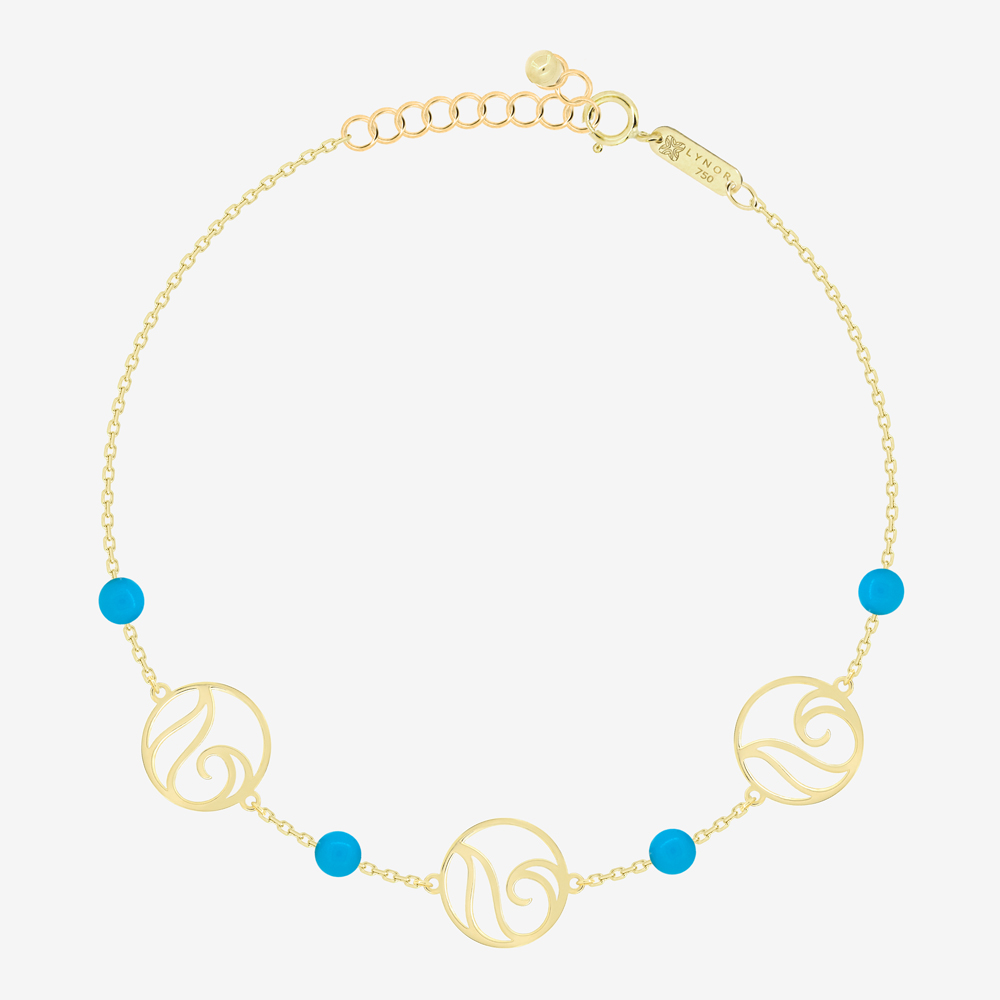 Waves Bracelet in Turquoise Beads