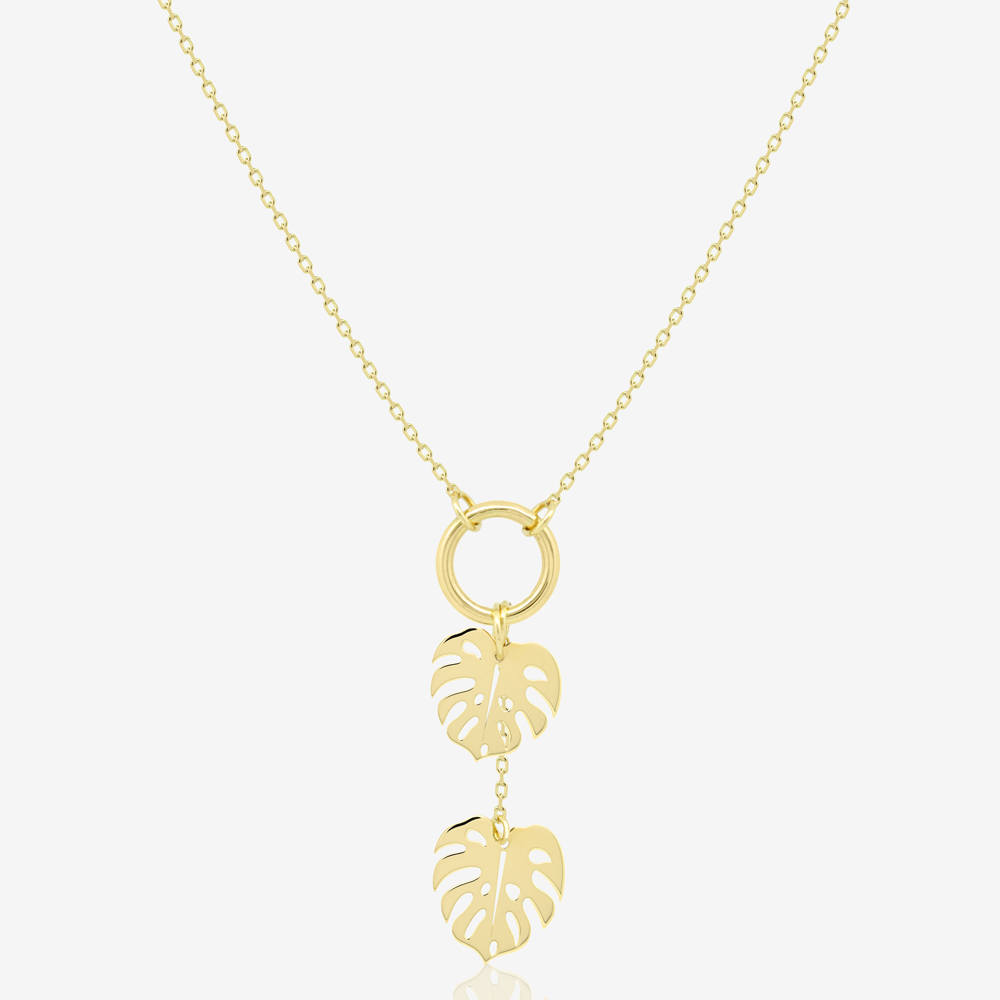 Twin Monstera Necklace