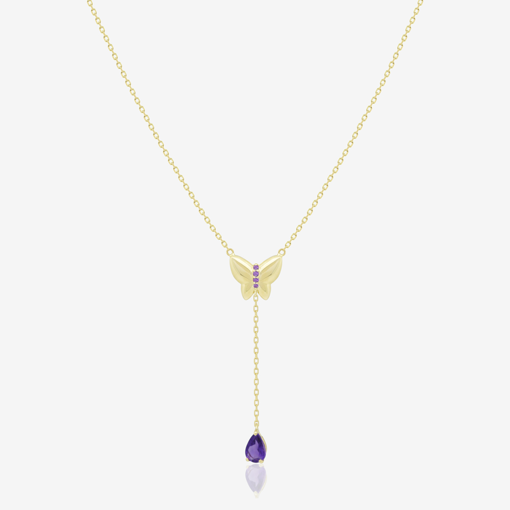 Butterfly Lariat Necklace in Amethyst