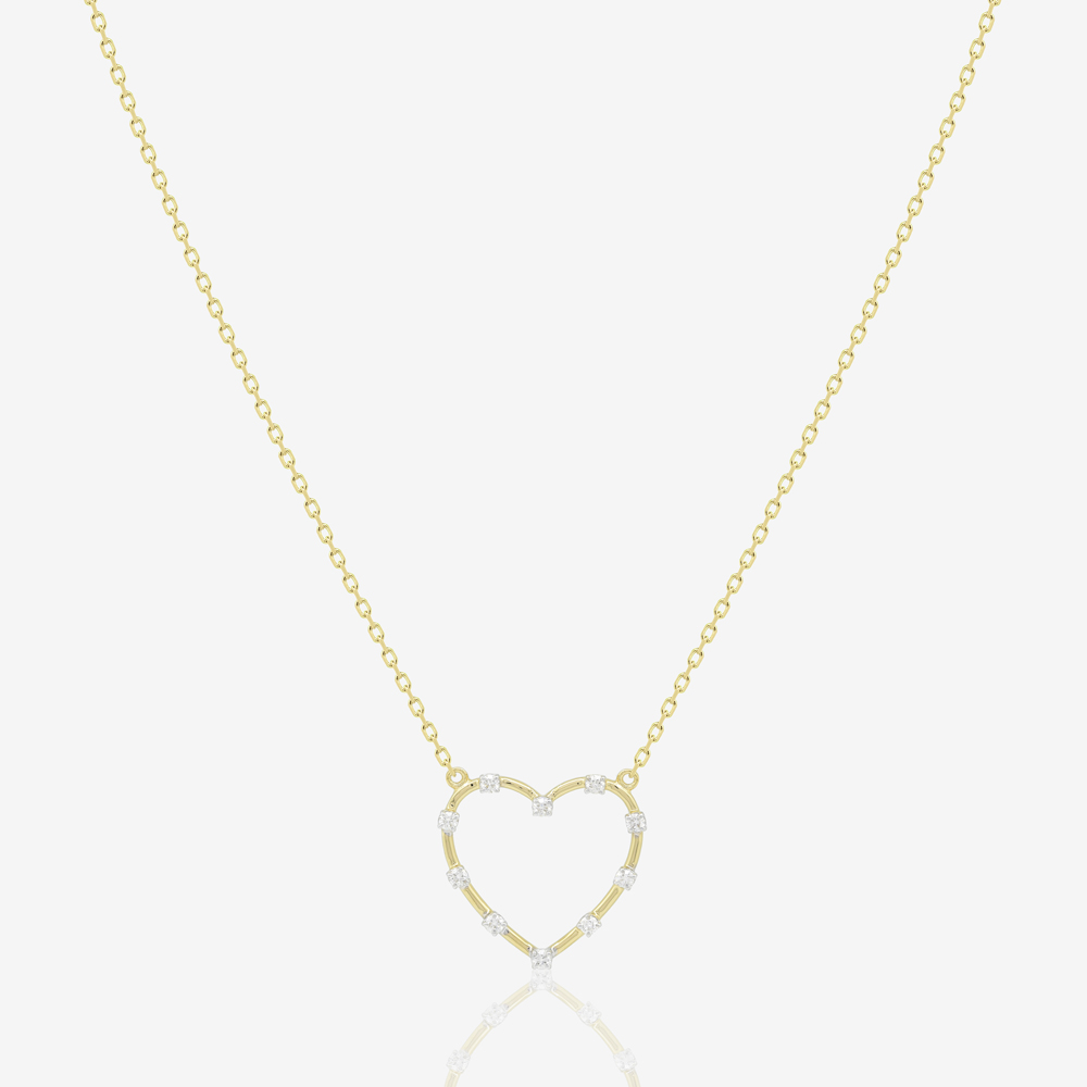 Dotted Diamond Heart Necklace