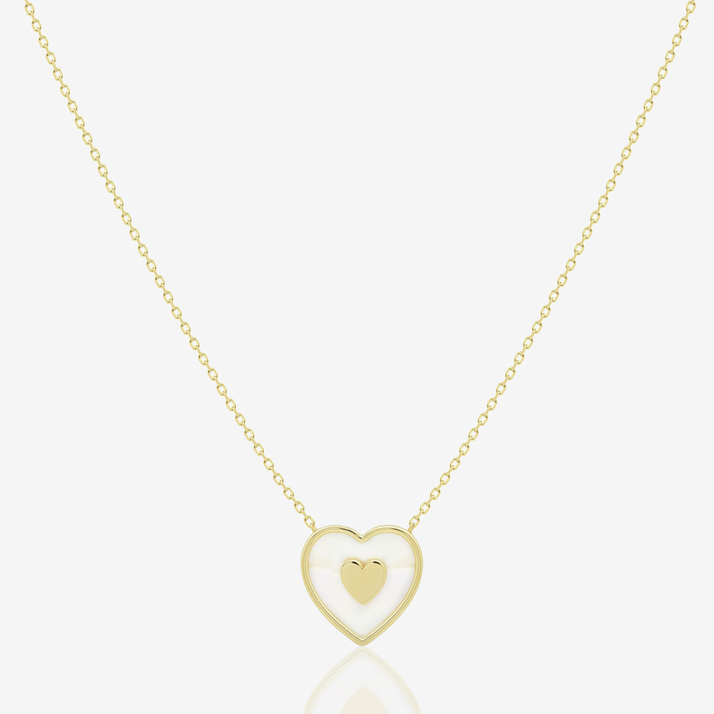 Cora Heart Necklace in Mother of Pearl