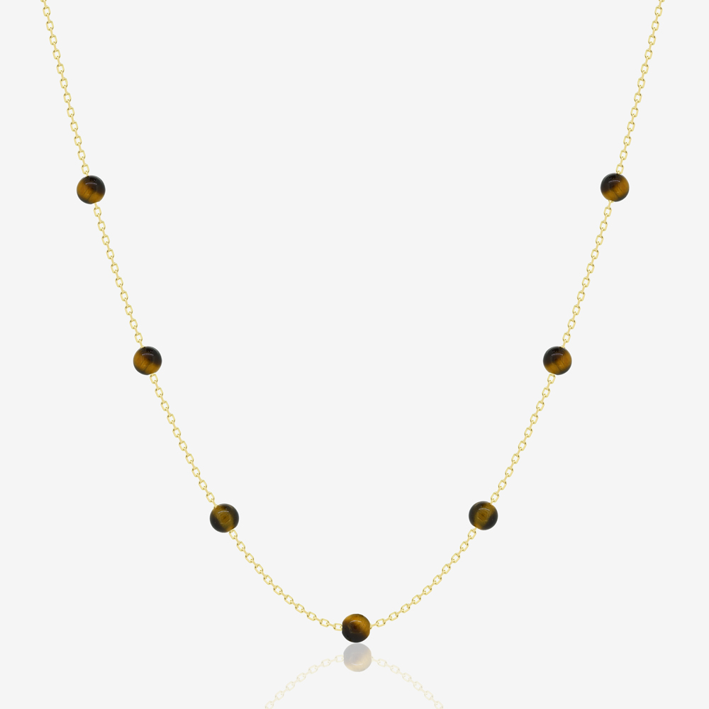 Beaded Necklace in Tiger Eye