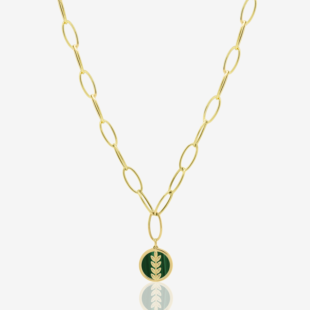Fortuna Links Necklace in Green Malachite