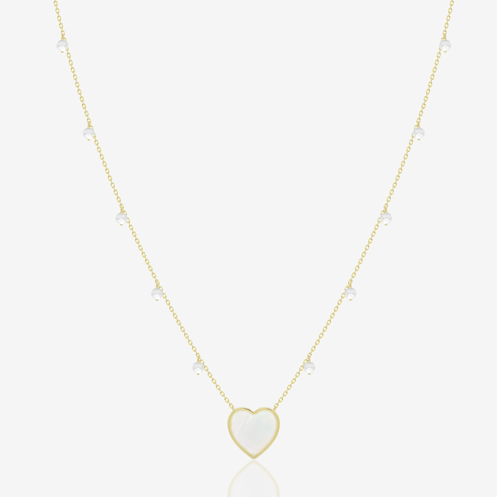 Ciana Heart Necklace in Pearl