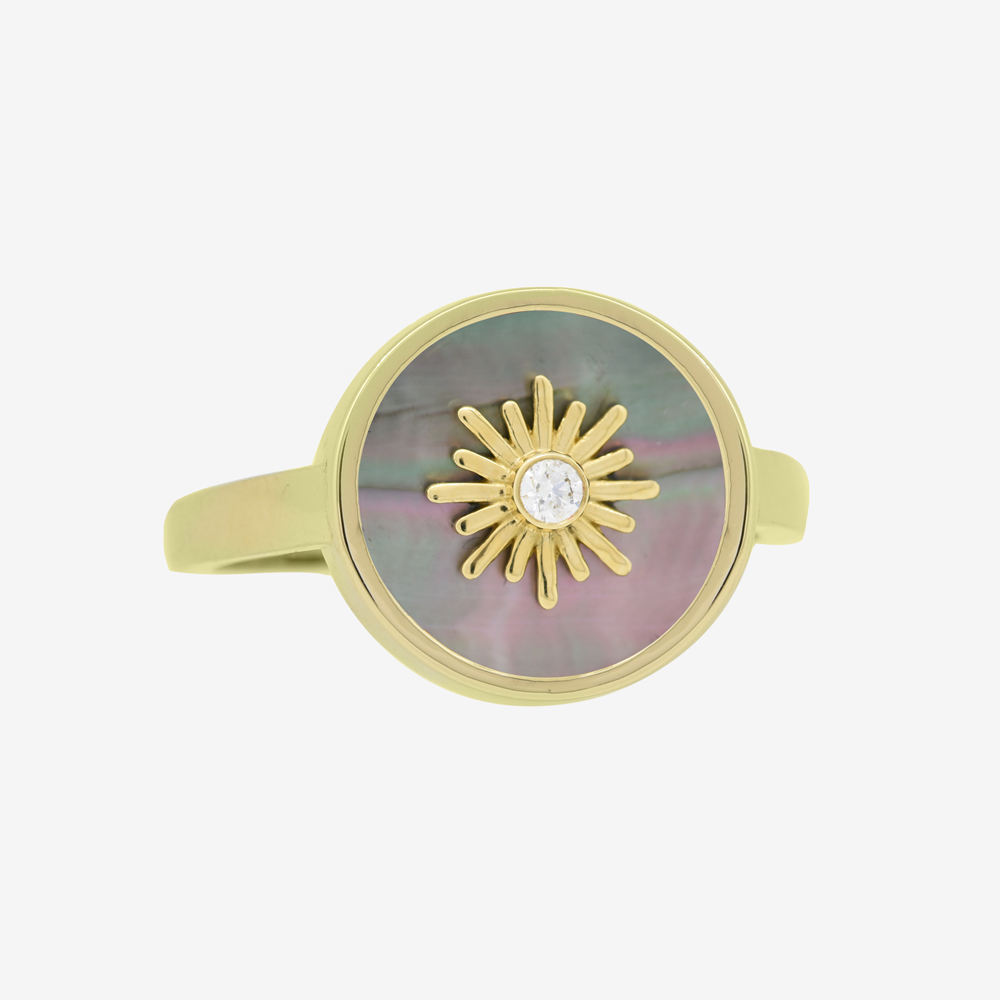 Sun Frame Ring in Diamond and Black Pearl