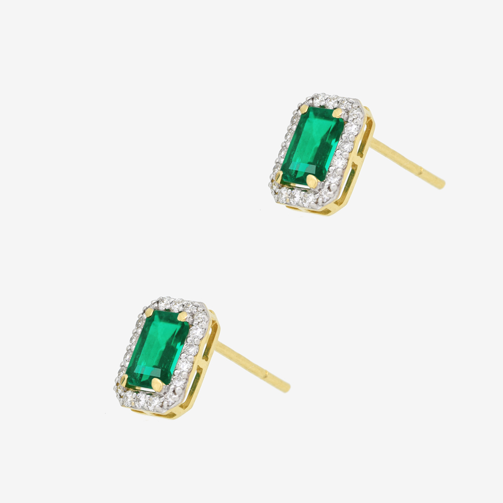 Annie Earrings in Emerald and Diamond