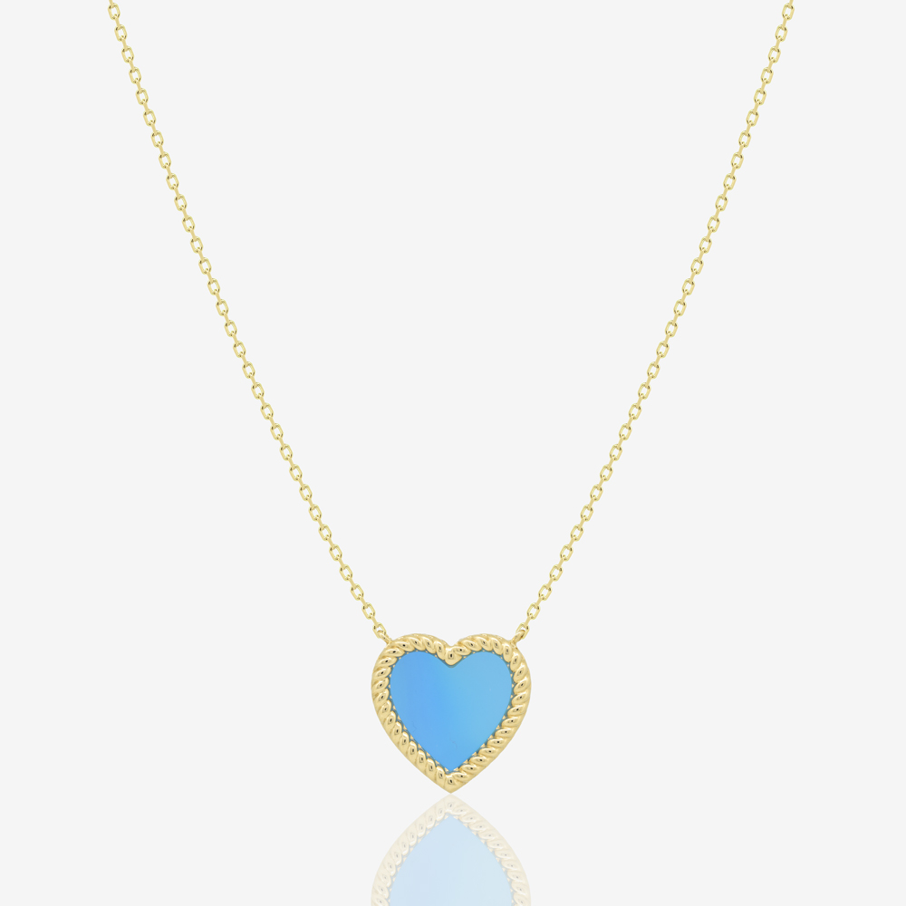 Corda Heart Necklace in Blue Agate