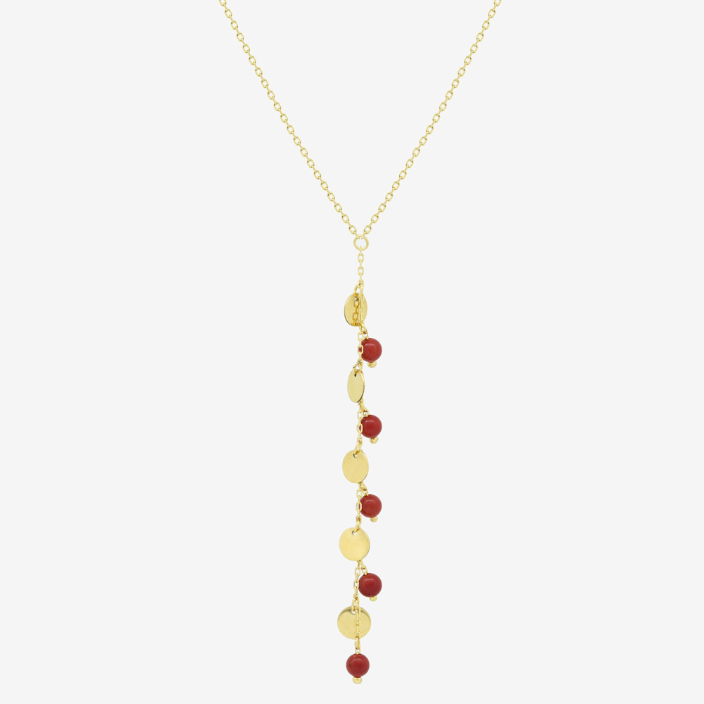 Lariat Necklace in Coral Drops