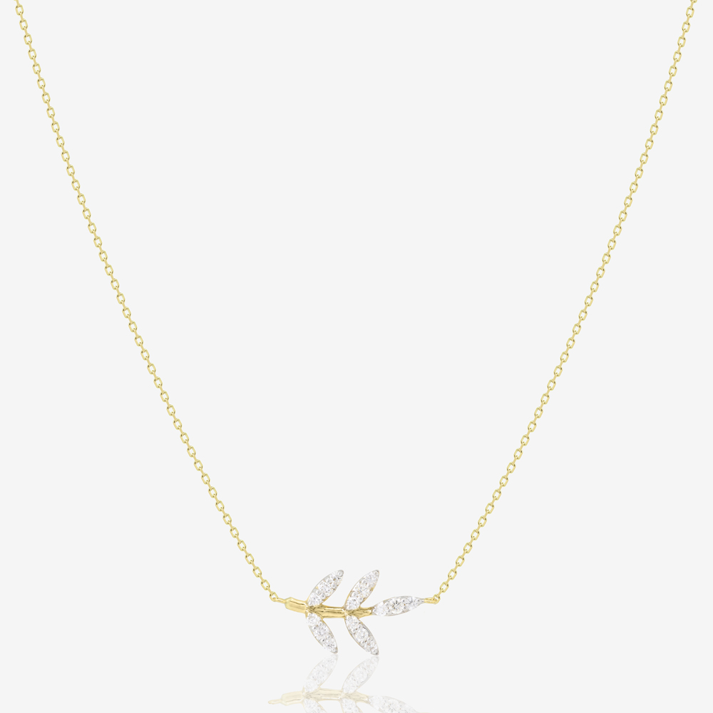 Leaf Necklace in Diamond