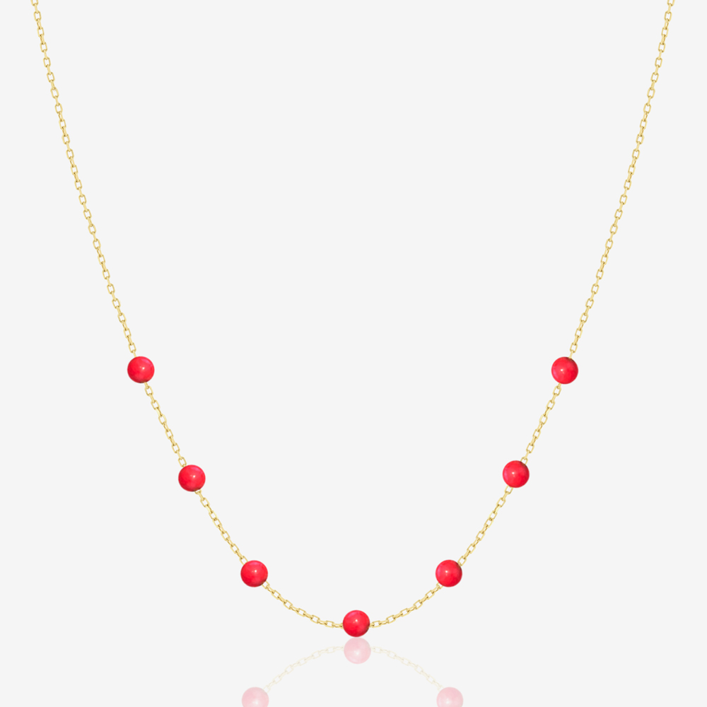 Beaded Necklace in Red Coral