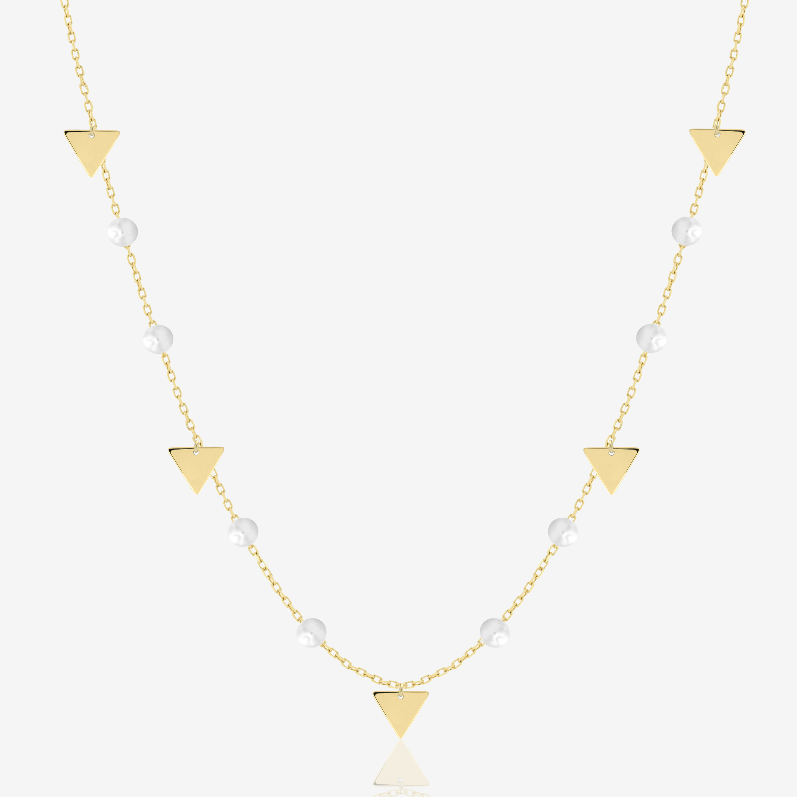 Triangles Necklace in Pearl