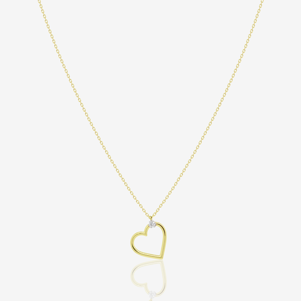 Heart Necklace in Diamond