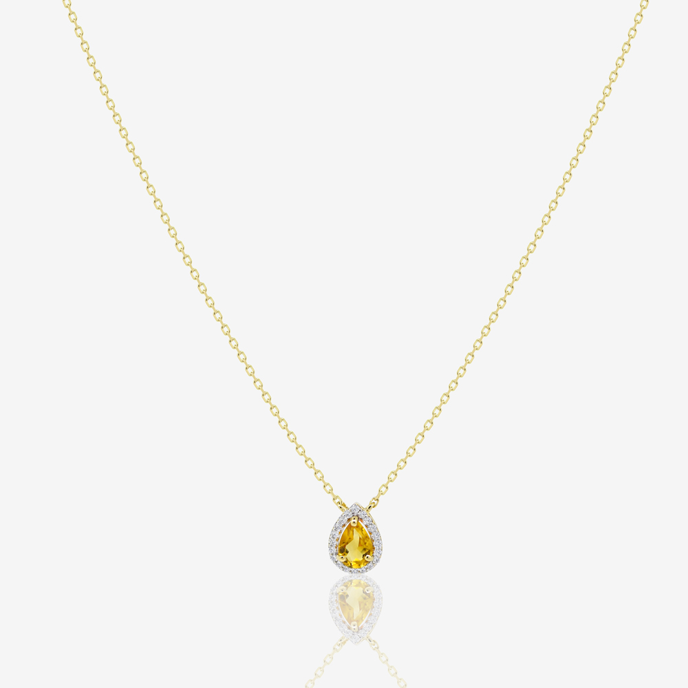 Pear Diamond Necklace in Citrine