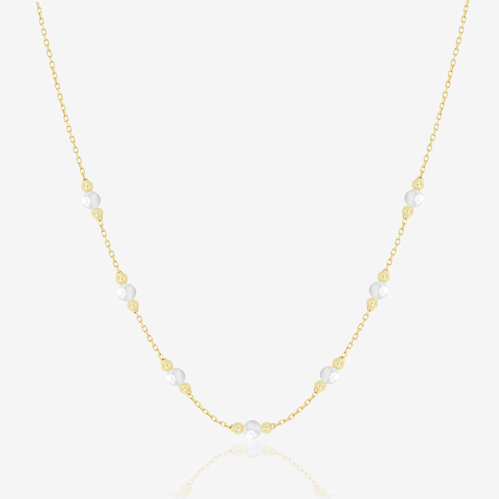 White Cherry Necklace in Pearl