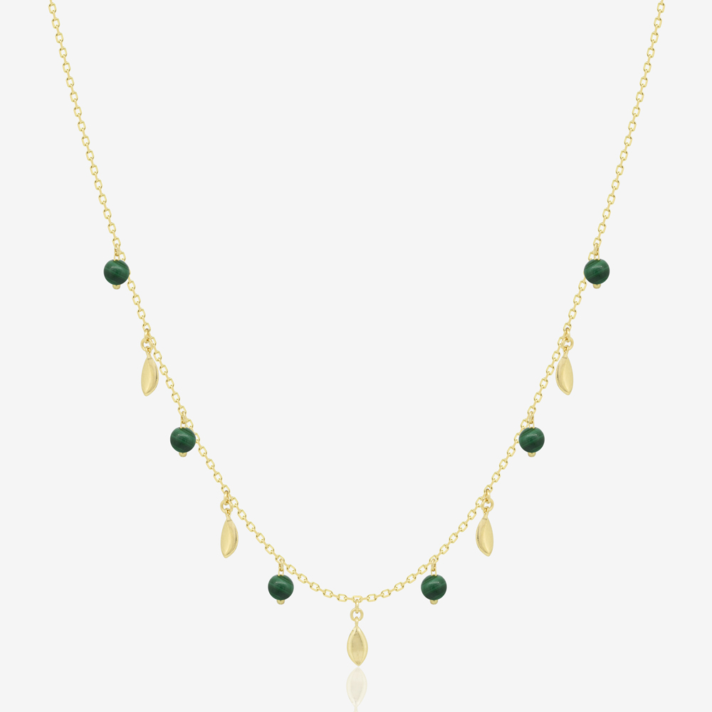 Leaves Necklace in Green Malachite