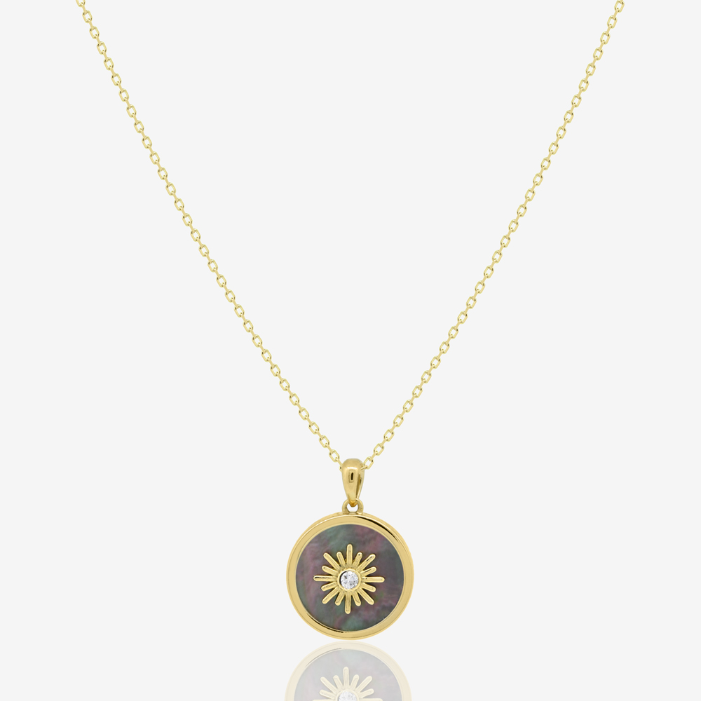 Sun Frame Necklace in Diamond and Black Pearl