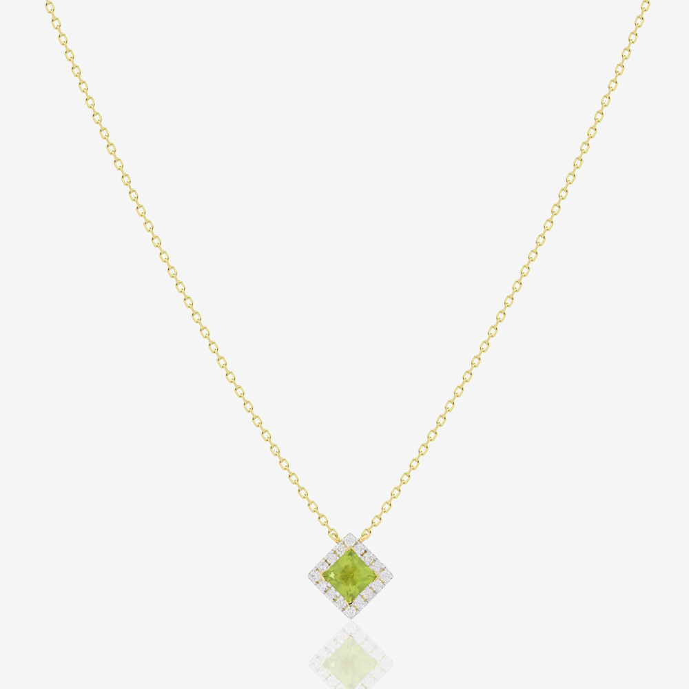 Roda Necklace in Diamond and Peridot