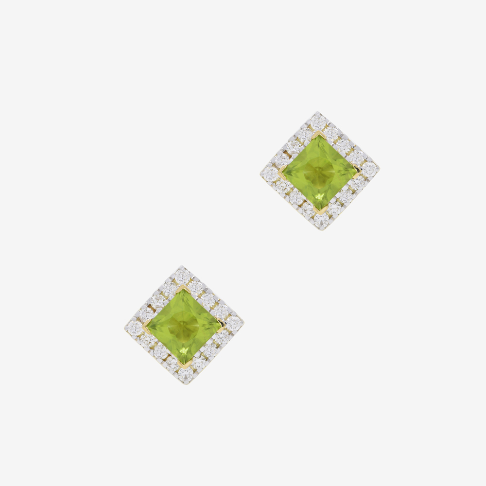 Roda Earrings in Diamond and Peridot