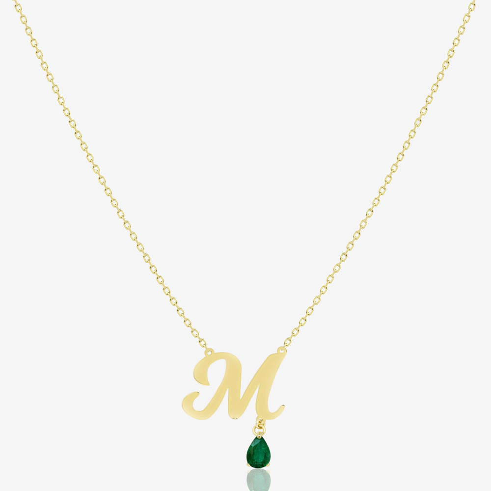 Initial Necklace with Emerald.